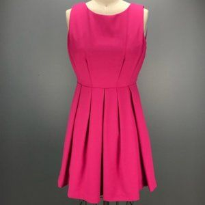Esley Fit & Flare Dress with Box Pleats  Hot Pink